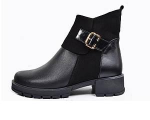 Ботинки женские из натуральной кожи  36-41 черный