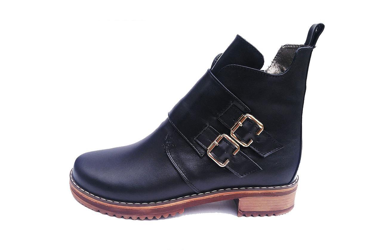 Ботинки женские из натуральной кожи   весенние 36-41 черный