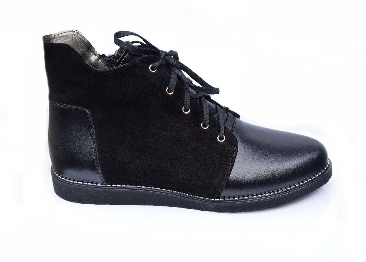 Женские весенние ботинки   из натуральной кожи  36-41 черный
