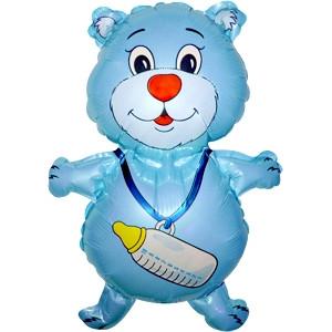 Фольгированный шар Медвежонок с бутылочкой 35см х 42см Голубой
