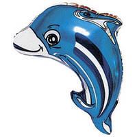 Фольгированный шар Дельфин 25см х 32см Голубой