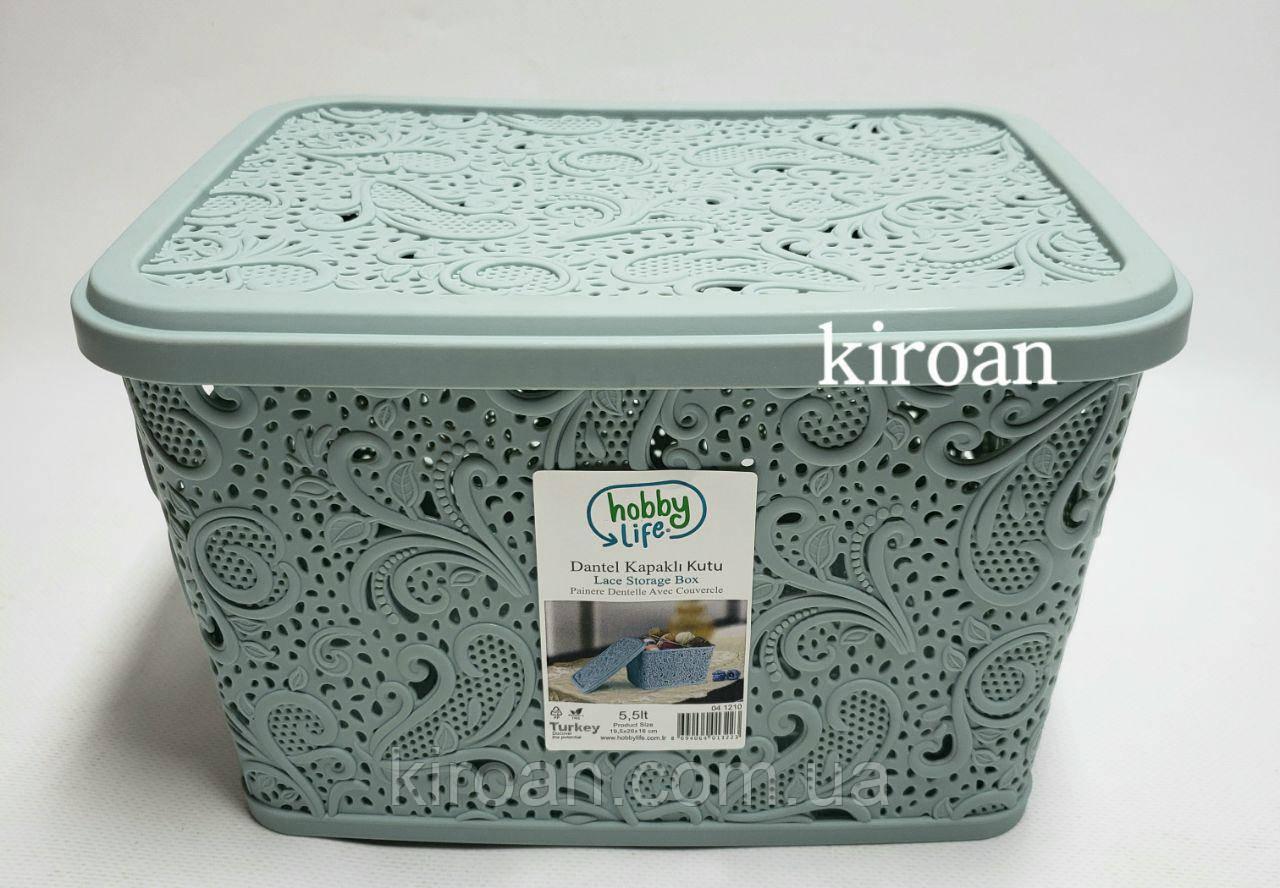 Пластиковая корзина ажурная с крышкой 5,5л (цвет зелёный мята) 26 х 20 х 16 см