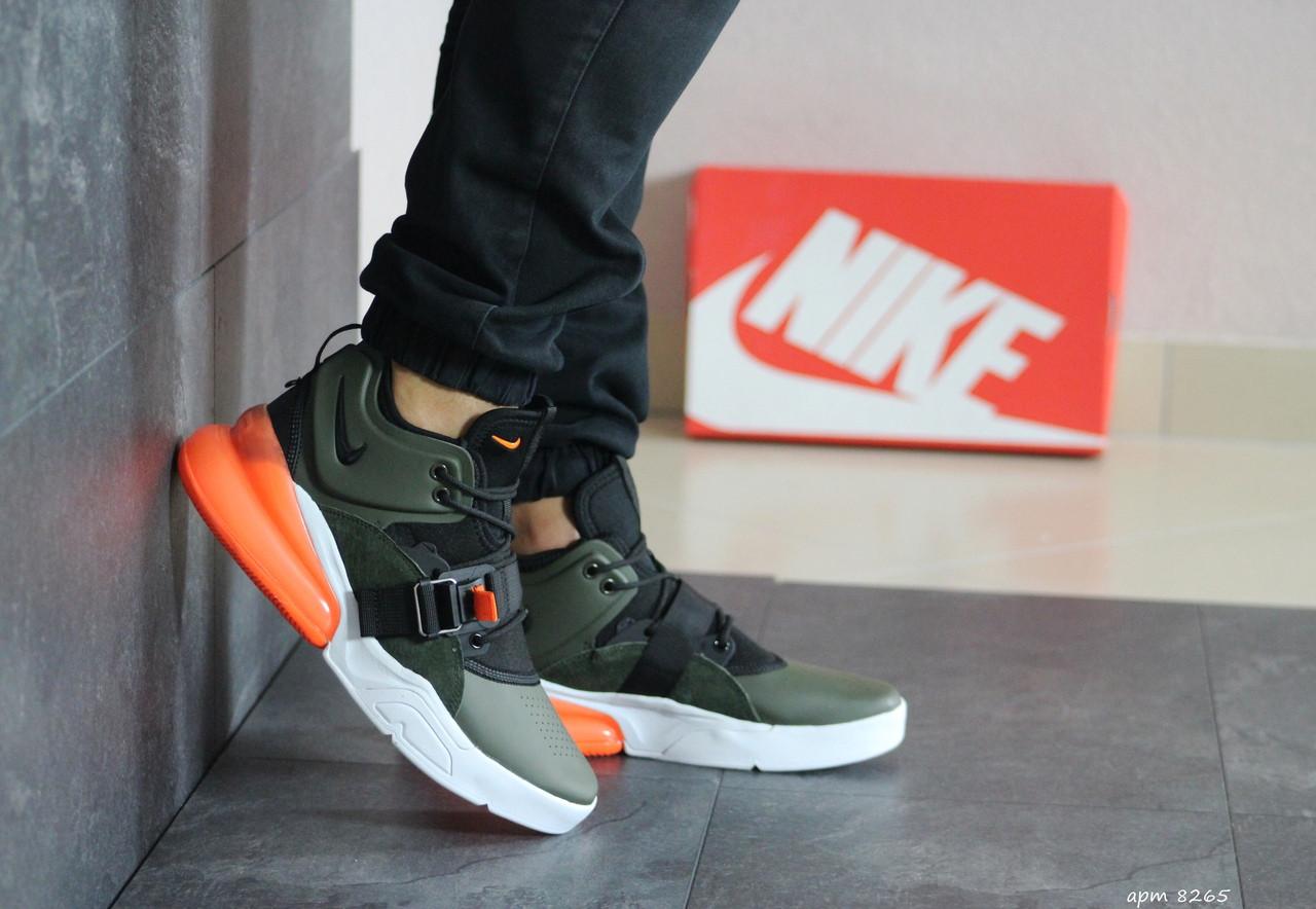 Кроссовки мужские Nike Air Force 270, замшевые,темно зеленые