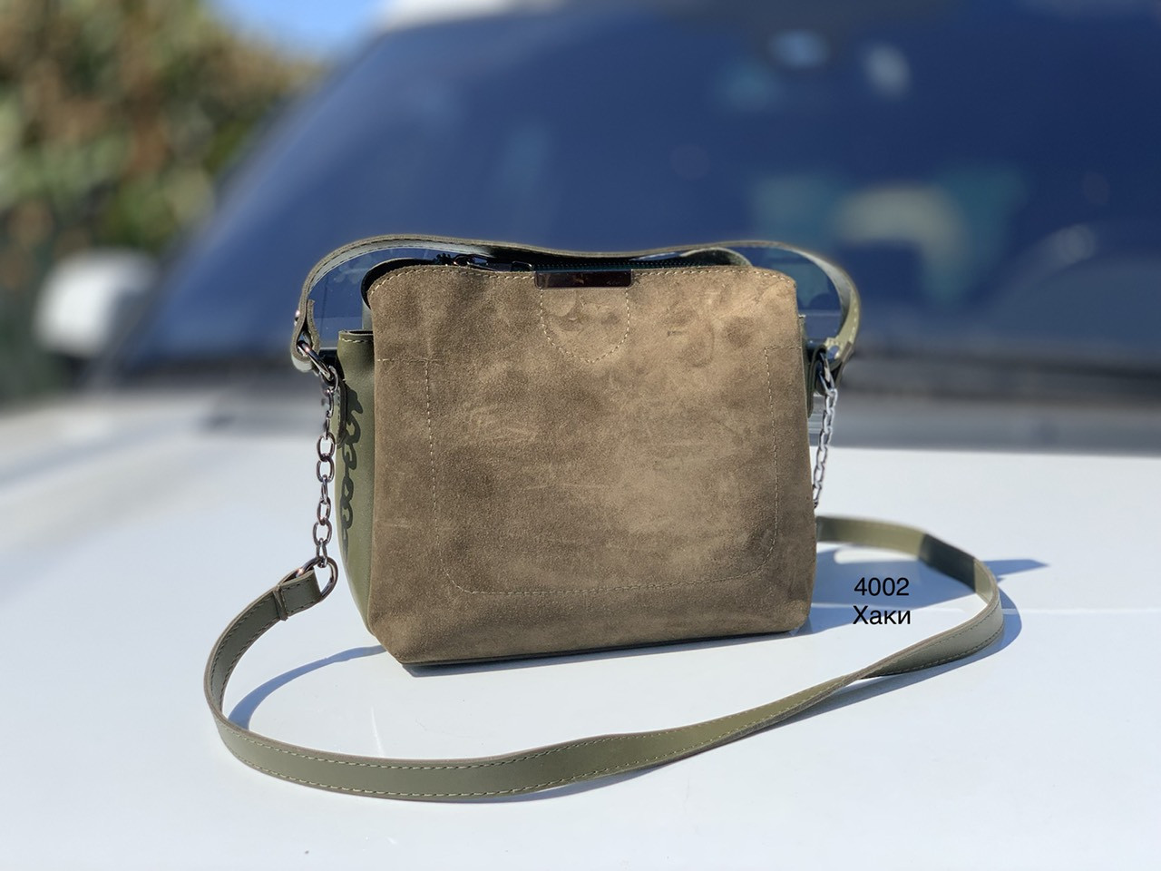 Небольшая замшевая женская сумочка через плечо сумка кросс-боди натуральная хаки замша+экокожа
