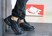 Мужские демисезонные кроссовки Nike Supreme (весна-осень, мужские, пресс кожа, черные), фото 1