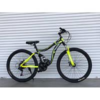 Велосипед подростковый двухподвесный 26 дюймов 14 рама синий, фото 1