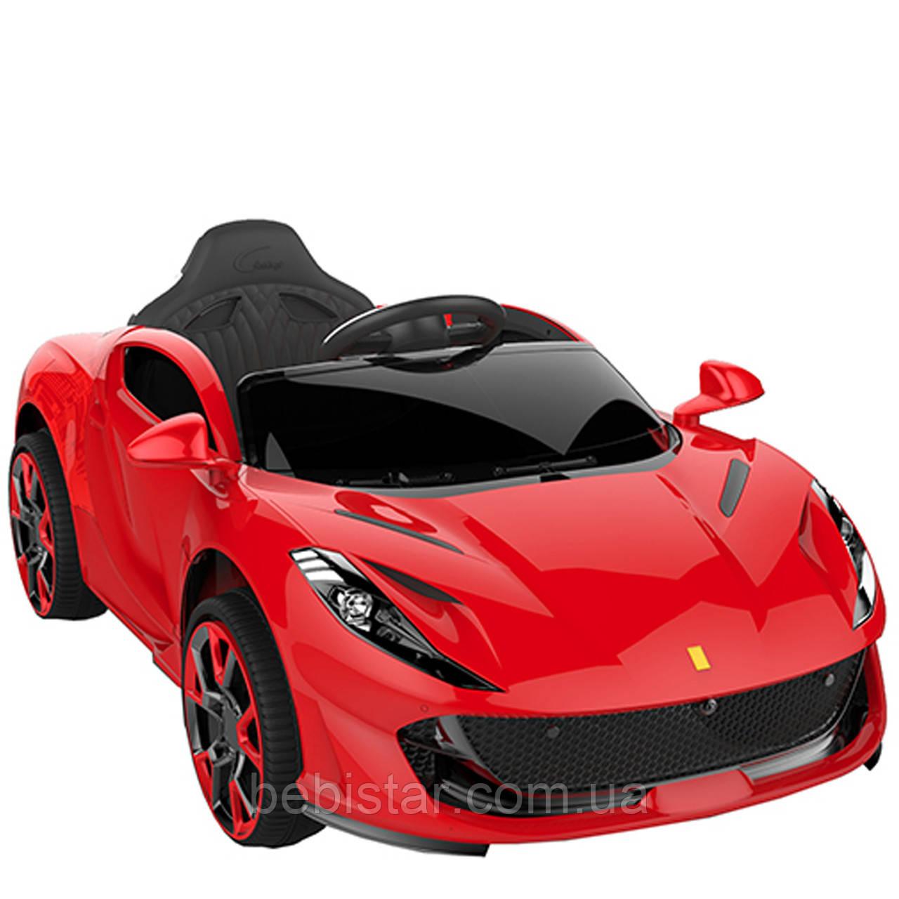 Электромобиль спортивный красный детский от 3-х до 8-ми лет КолесаEVA пульт мотор 2*25W аккумулятор 12V4.5AH