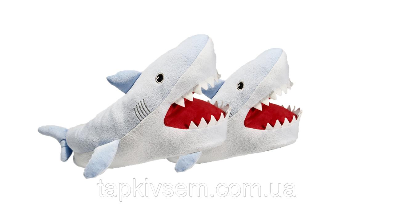 Тапочки-игрушки Акула белая, размеры с 38 по 42