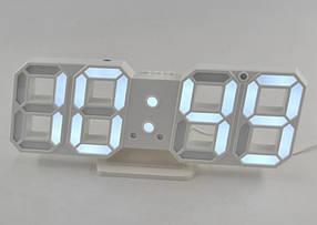 Электронные настольные LED часы с будильником и термометром Caixing CX-2218 (белая подсветка)