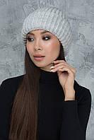 Универсальная вязаная шапочка Каролина светло-серая