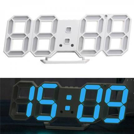 Часы электронные настольные настенные LED с будильником и термометром Caixing CX-2218 White голубая подсветка, фото 2