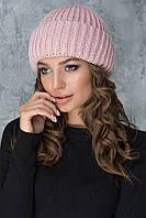Красивая шапочка с отворотом Каролина пудра