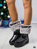 Ботинки женские кожаные с мехом черные