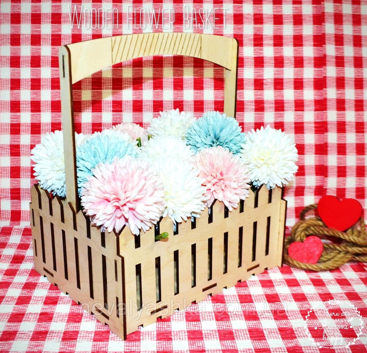 Декоративная Деревянная Корзинка Большая для оформления цветов букетов дерев'яна корзина для квітів