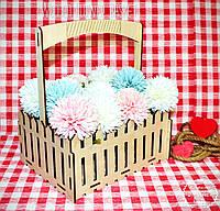 Декоративная Деревянная Корзинка Большая для оформления цветов букетов дерев'яна корзина для квітів, фото 1
