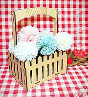 Декоративная Деревянная Корзинка Средняя для оформления цветов букетов дерев'яна корзина для квітів, фото 1
