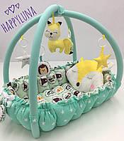 """Детский игровой развивающий коврик - Кокон гнездышко для новорожденного 2 в 1 """" Веселый лес 2 """""""