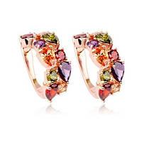 Серьги для невесты вечерняя бижутерия с разноцветными кристаллами Dolce Classic 158963