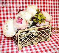 Декоративная Деревянная Корзинка Ящик Сетка Большая для оформления цветов букетов дерев'яна корзина для квітів, фото 1
