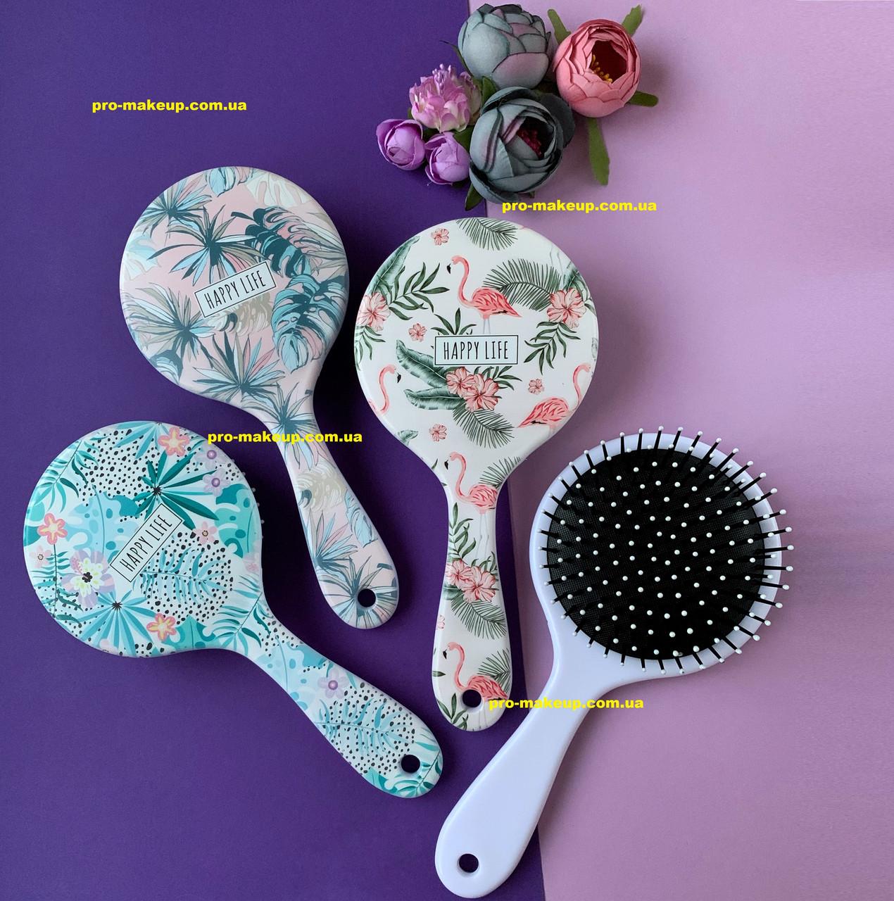 Расческа для волос женская круглая Flamingo and Flowers (Фламинго)