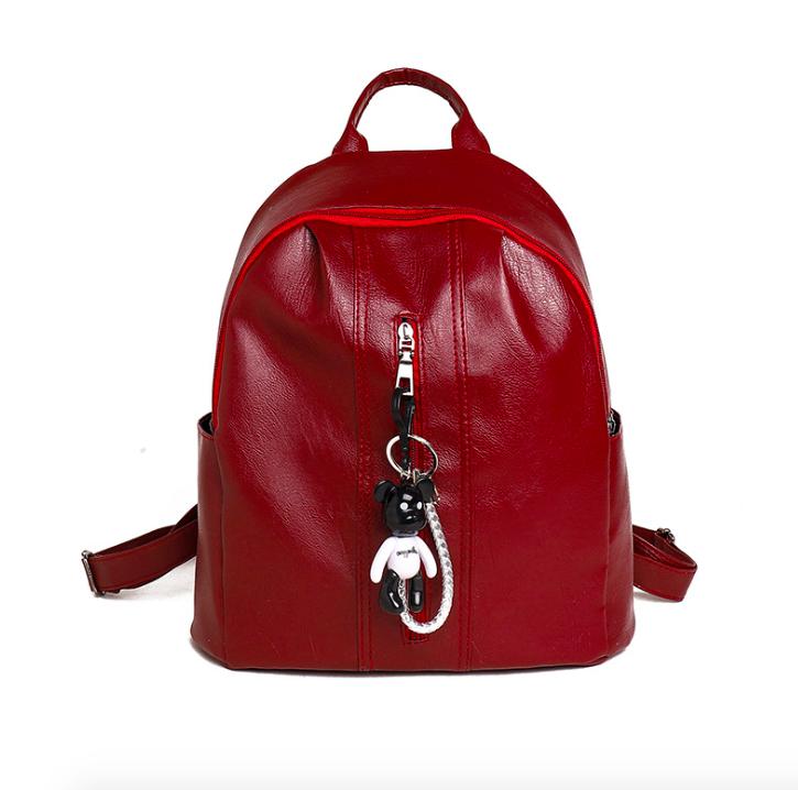 Рюкзак женский кожзам Nikki бордовый с брелком