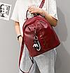 Рюкзак женский кожзам Nikki бордовый с брелком, фото 4