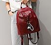 Рюкзак женский кожзам Nikki бордовый с брелком, фото 3