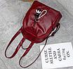Рюкзак женский кожзам Nikki бордовый с брелком, фото 5