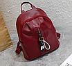 Рюкзак женский кожзам Nikki бордовый с брелком, фото 2