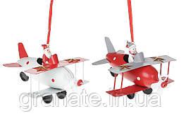 Новогоднее украшение, подвеска Самолет 14см (6шт)