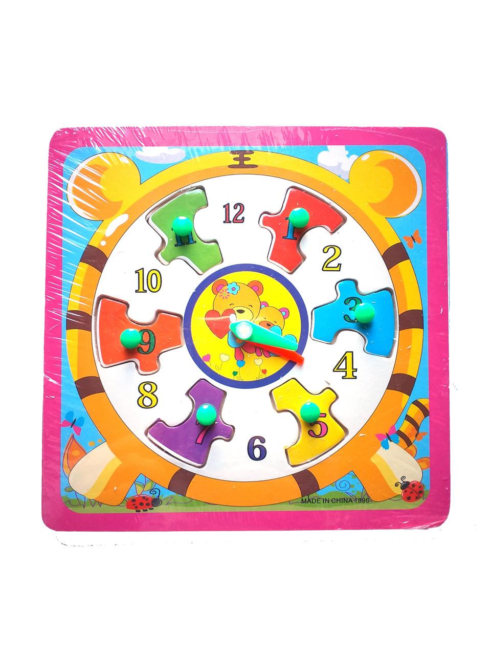 Деревянная игрушка Часы рамка-вкладыш с ручкой, 6 видов, в кульке 0959