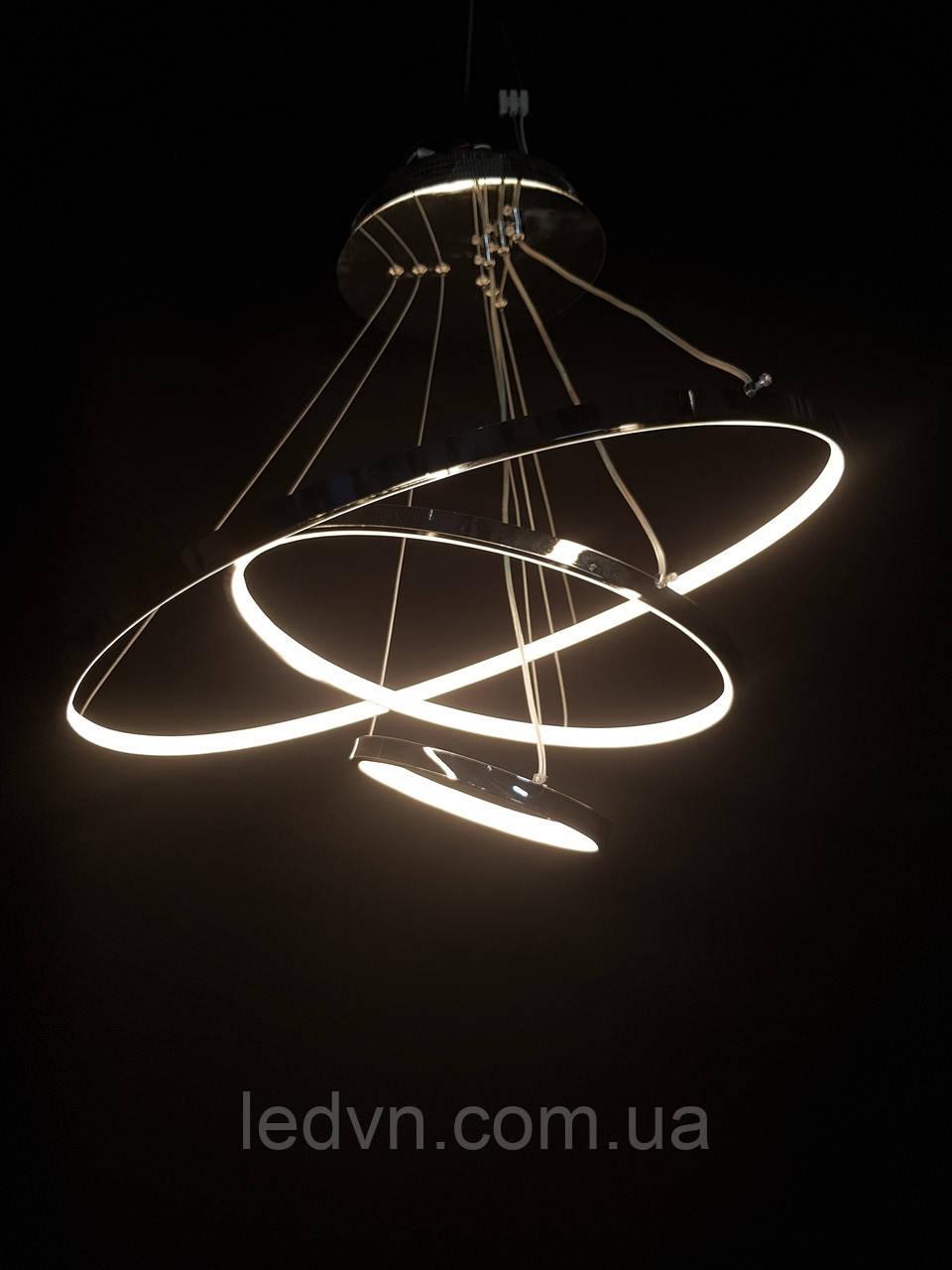 Светодиодная люстра на три белых кольца серебро