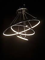 Светодиодная люстра на три белых кольца серебро, фото 1