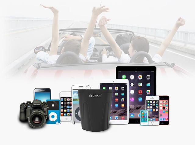 Автомобильное зарядное устройство Orico Power Cup Car Charger c 3 USB и 2 разъёма для прикуривателя MP-3U2S Черное
