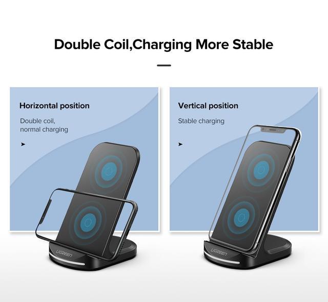 Беспроводное зарядное устройство Ugreen Qi Desktop Wireless Charging ED025 60228 Черное