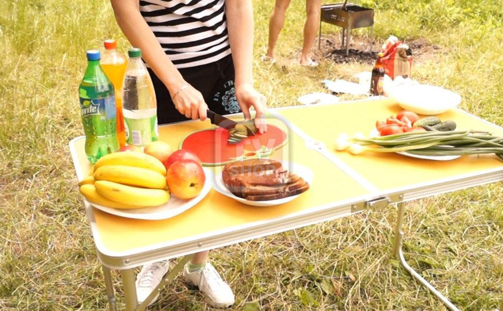 🔥 Раскладной столик + 4 стула. Набор для пикника, складной стол-чемодан на природу.