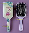 Расческа для волос женская прямоугольная Flamingo Tropical (Фламинго) большая, фото 5