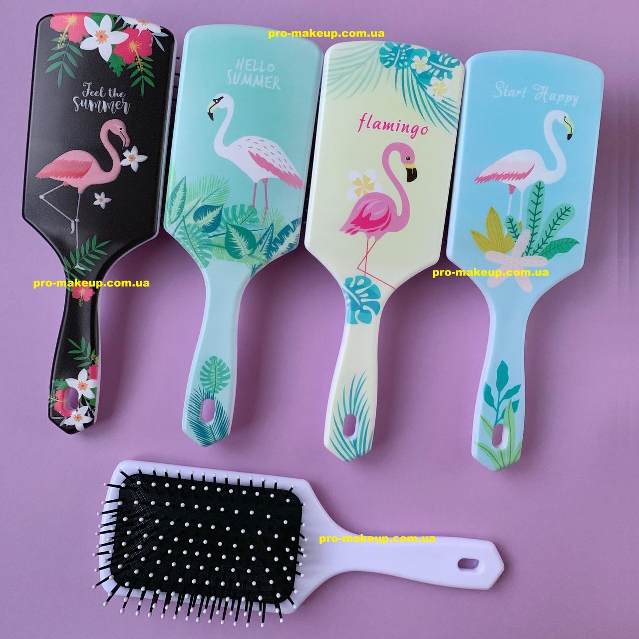 Расческа для волос женская прямоугольная Flamingo Tropical (Фламинго) большая