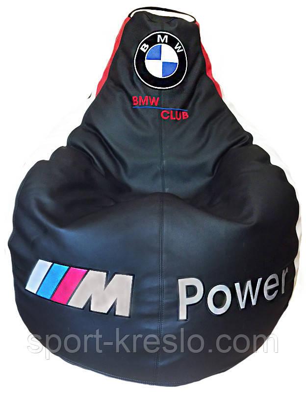 Бескаркасное кресло мешок sportkreslo BMW Экокожа размер XL 115*130см черное