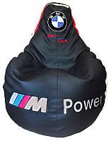 Бескаркасное кресло мешок sportkreslo BMW Экокожа размер XL 115*130см черное, фото 1