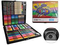 Набір для малювання 258 елементів, набір для творчості,живопису, набір для художників, валіза для малювання