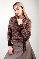Женский свитер из мягкой пряжи кирпич-лен, фото 1
