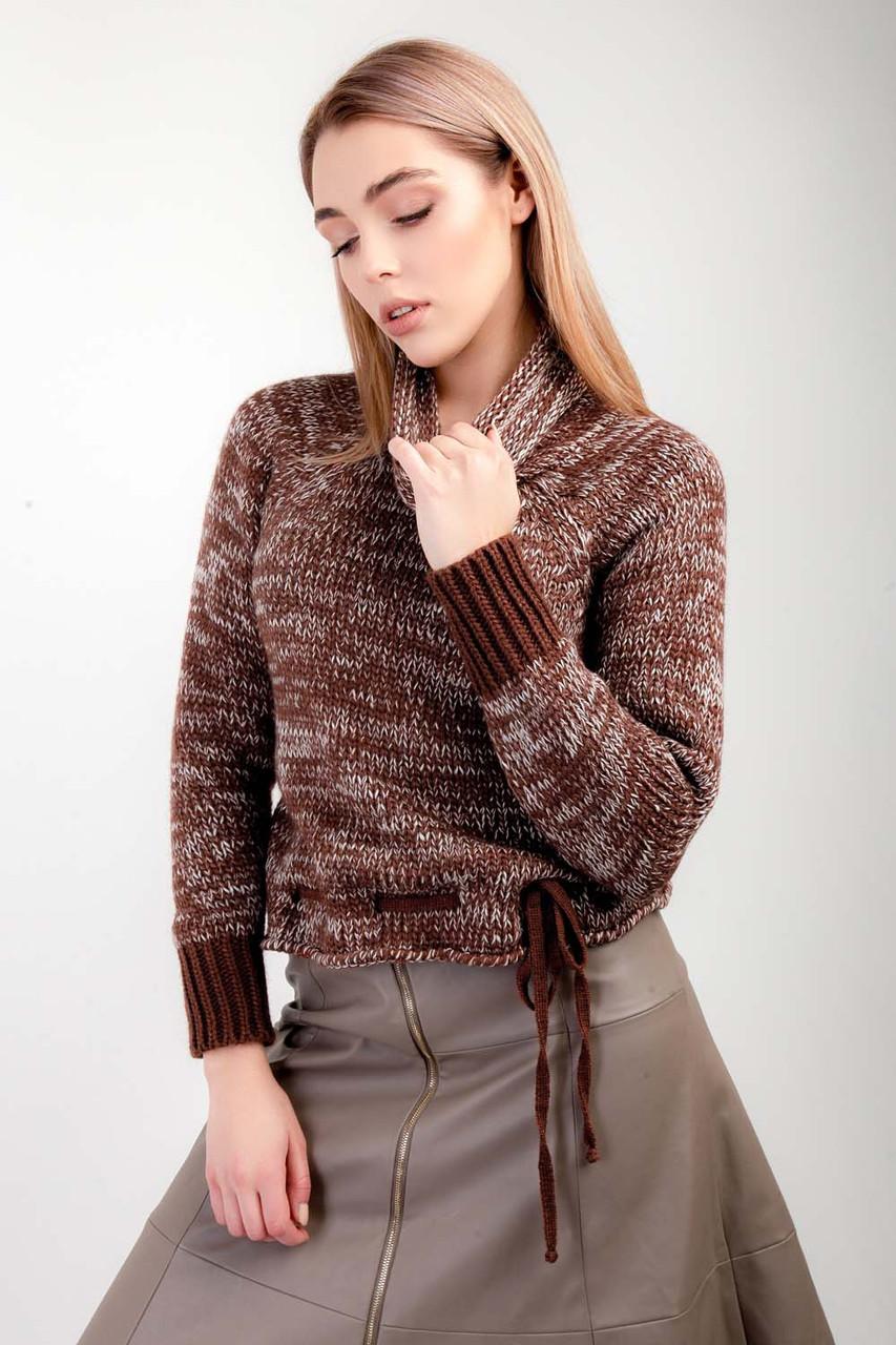 Женский свитер из мягкой пряжи кирпич-лен