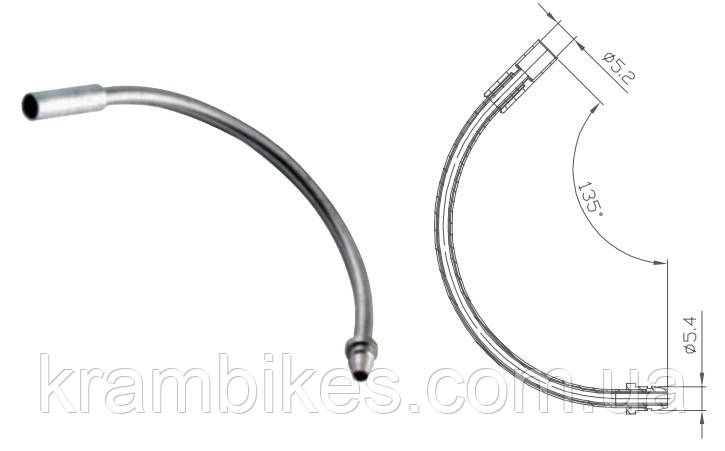 Трубка направляющая для V-brake Alligator  - LY-VBP04#P10 135° Серебро