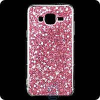 Чехол силиконовый Конфетти Samsung J3 2015 J300 розовый
