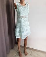Платье светло-голубое кружевное