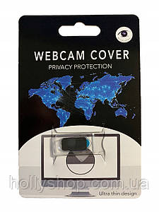 Крышка-заглушка для веб камеры ноутбука черная пластиковая овальная