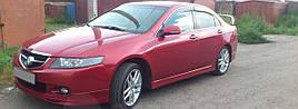 Ветровики, дефлекторы окон Acura TSX 2003-2007 ХРОМ.МОЛДИНГ 'Cobra tuning'
