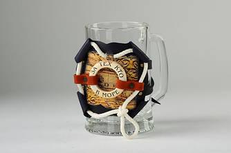 Кружка пивная в кожаном футляре с надписью
