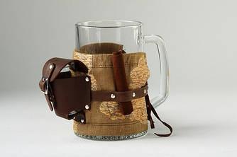 Пивной бокал в футляре из натуральной кожи с рюкзачком для туристов
